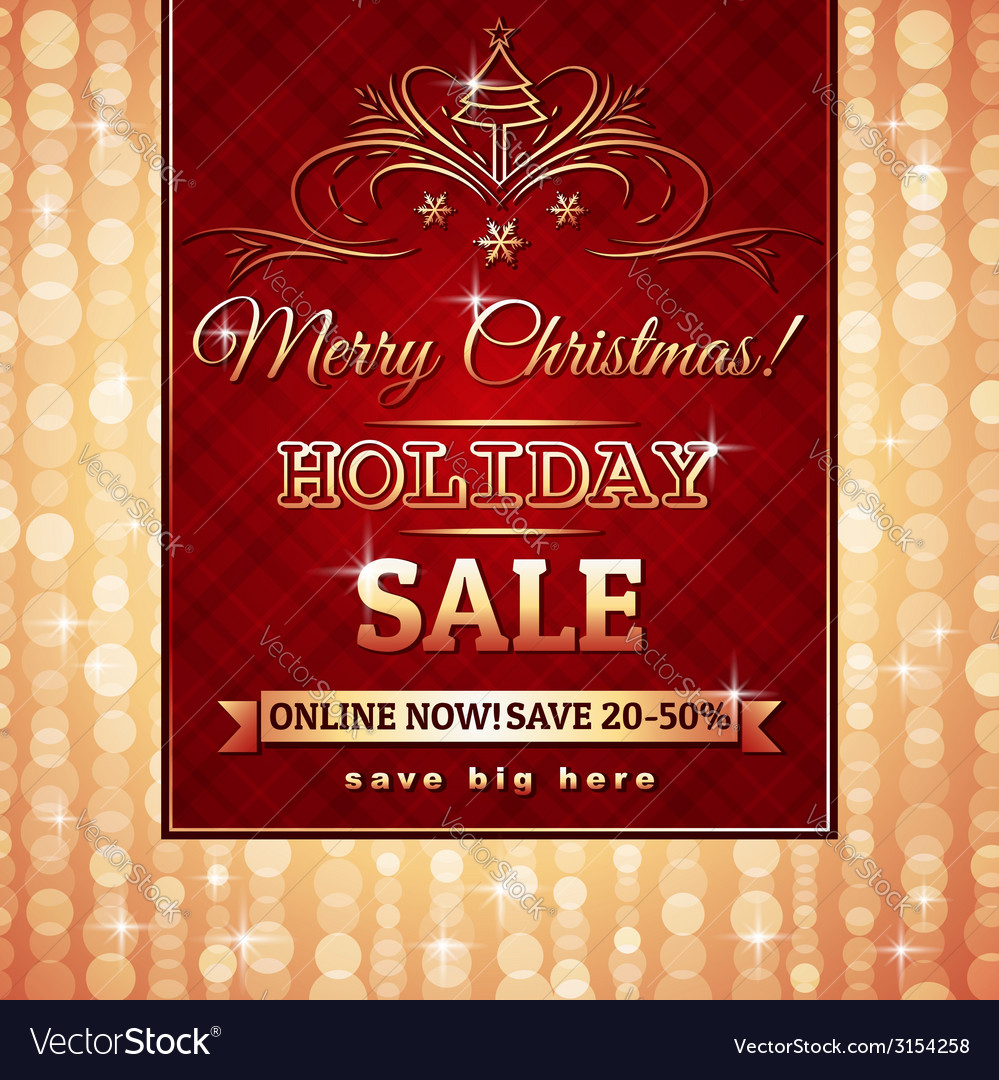 Red christmas background and label with sale offer vector | Price: 1 Credit (USD $1)