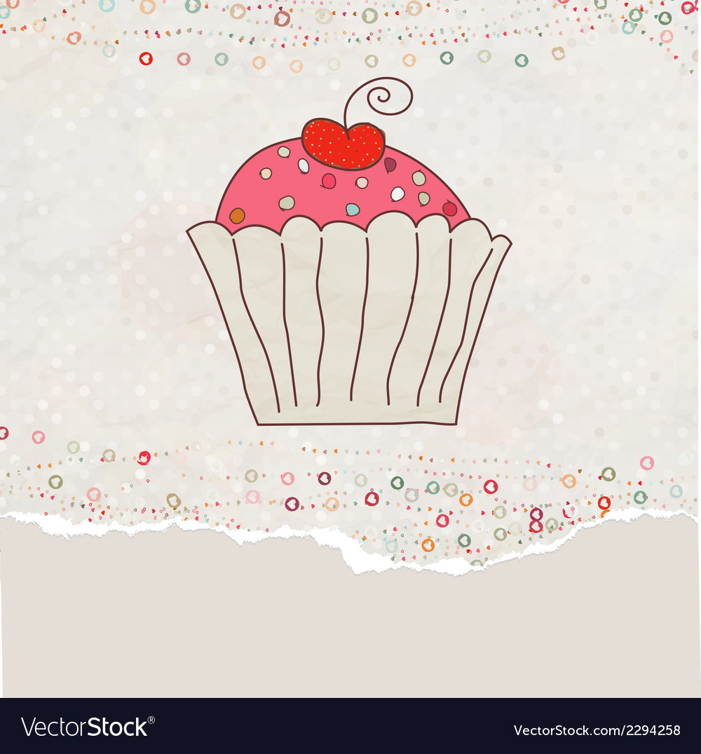 Retro valentine card with cupcake eps 8 vector | Price: 1 Credit (USD $1)
