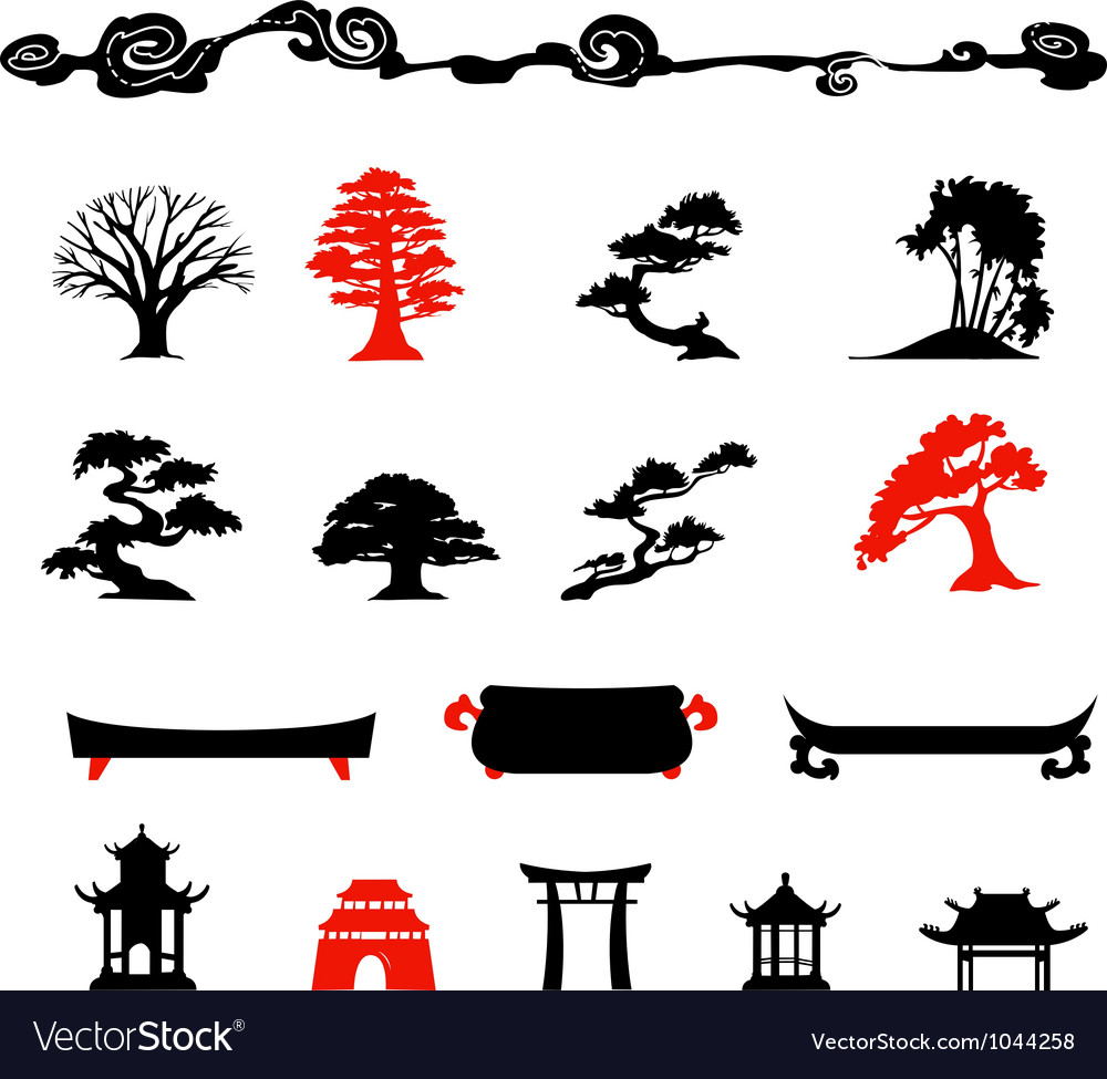 Set of chines bonsai trees isolated on white backg vector | Price: 1 Credit (USD $1)
