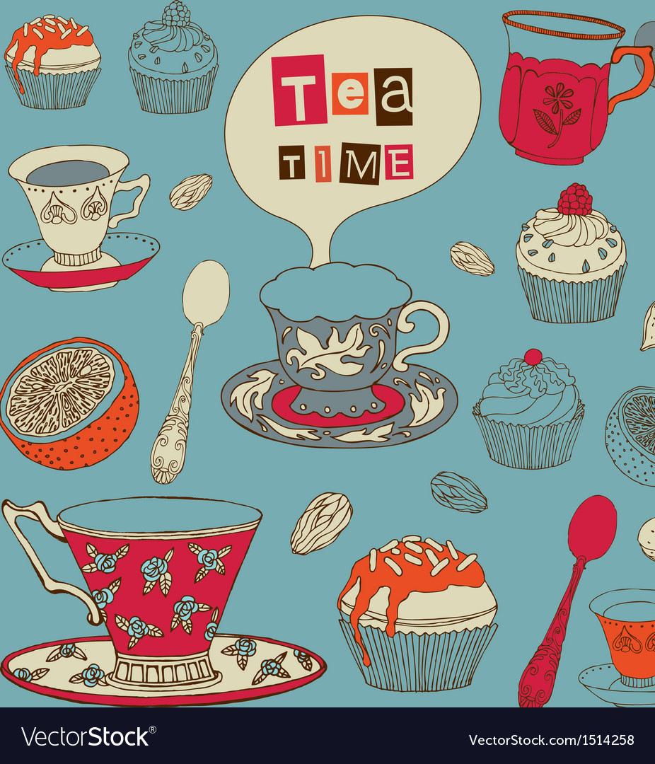 Tea with cakes vector | Price: 3 Credit (USD $3)