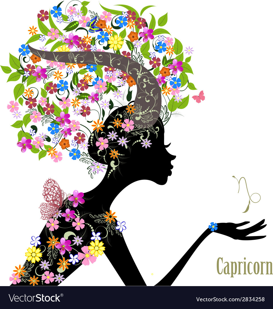 Zodiac sign capricorn fashion girl vector | Price: 1 Credit (USD $1)