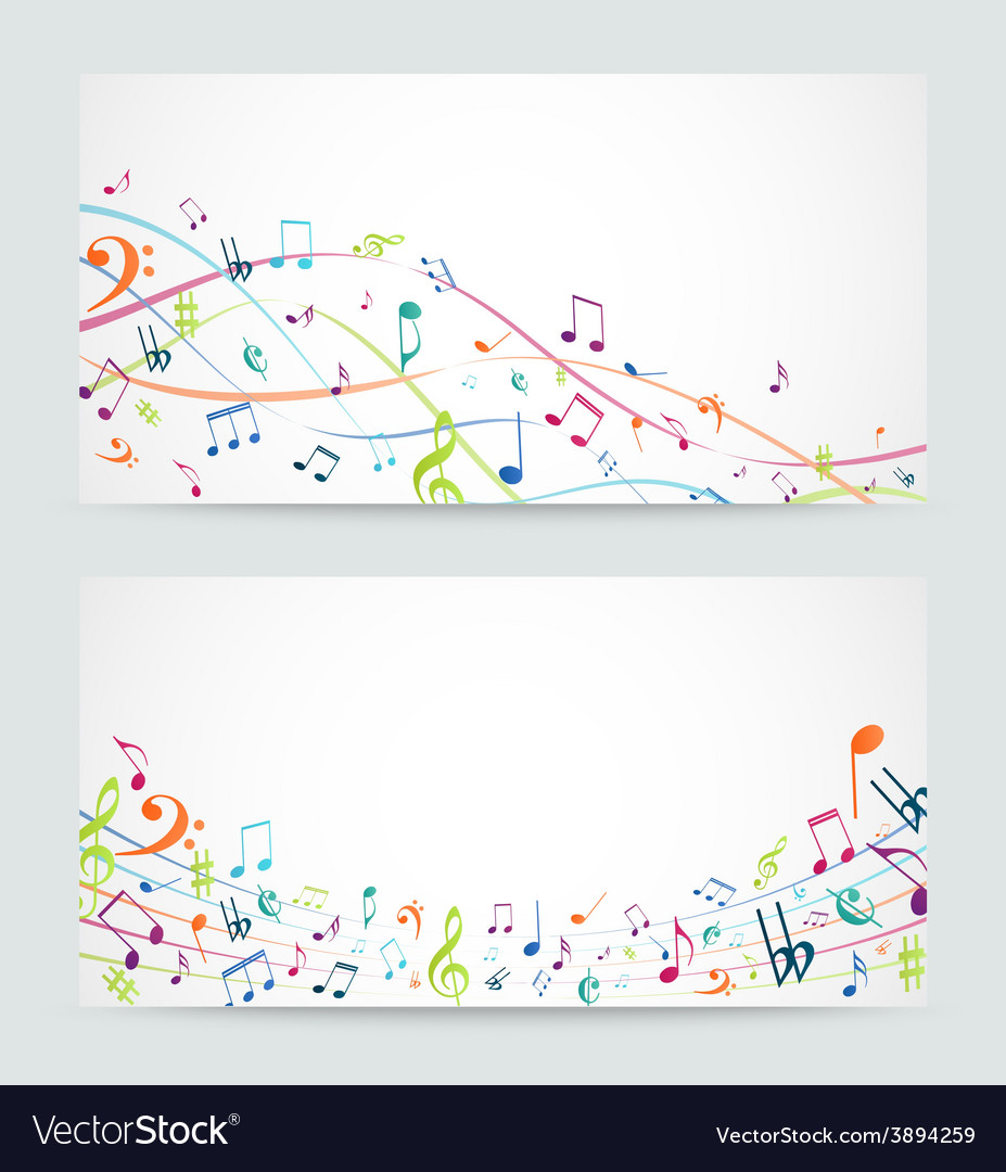 Abstract colorful music notes banner vector | Price: 3 Credit (USD $3)