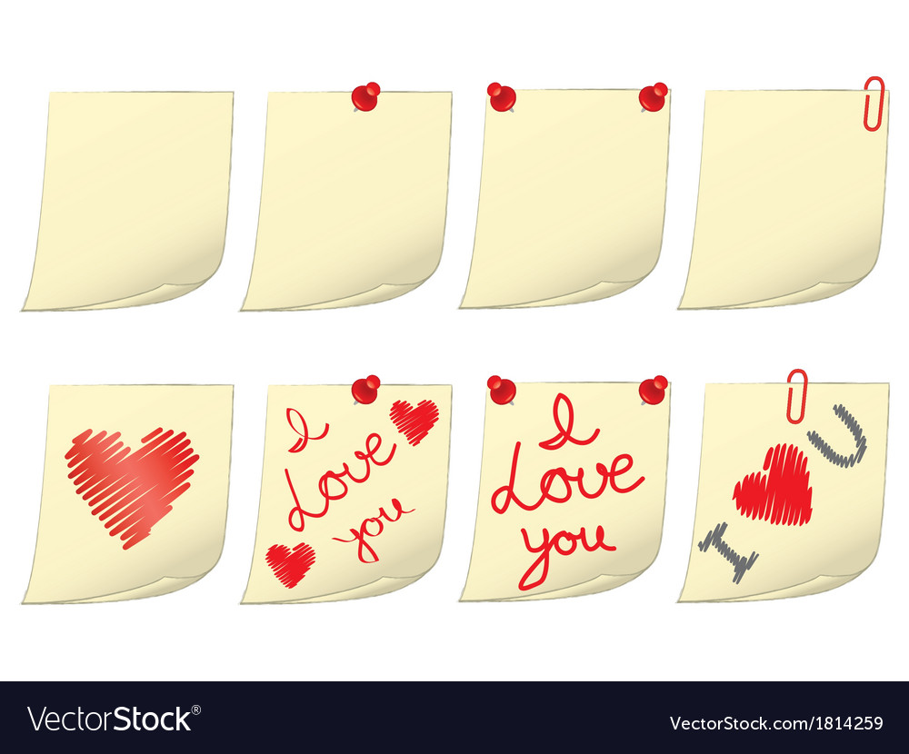 Blank and valentines day notes vector | Price: 1 Credit (USD $1)