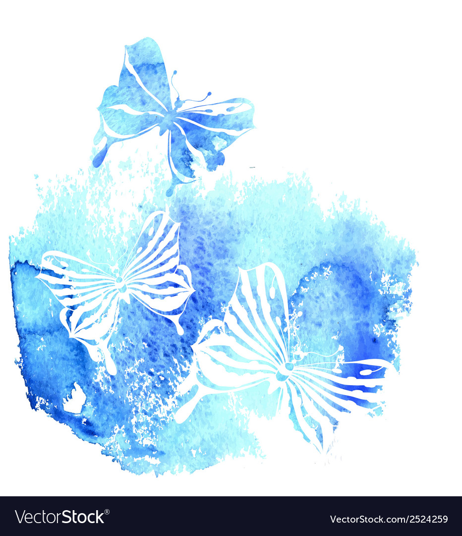 Bluel background with watercolor butterfly vector | Price: 1 Credit (USD $1)