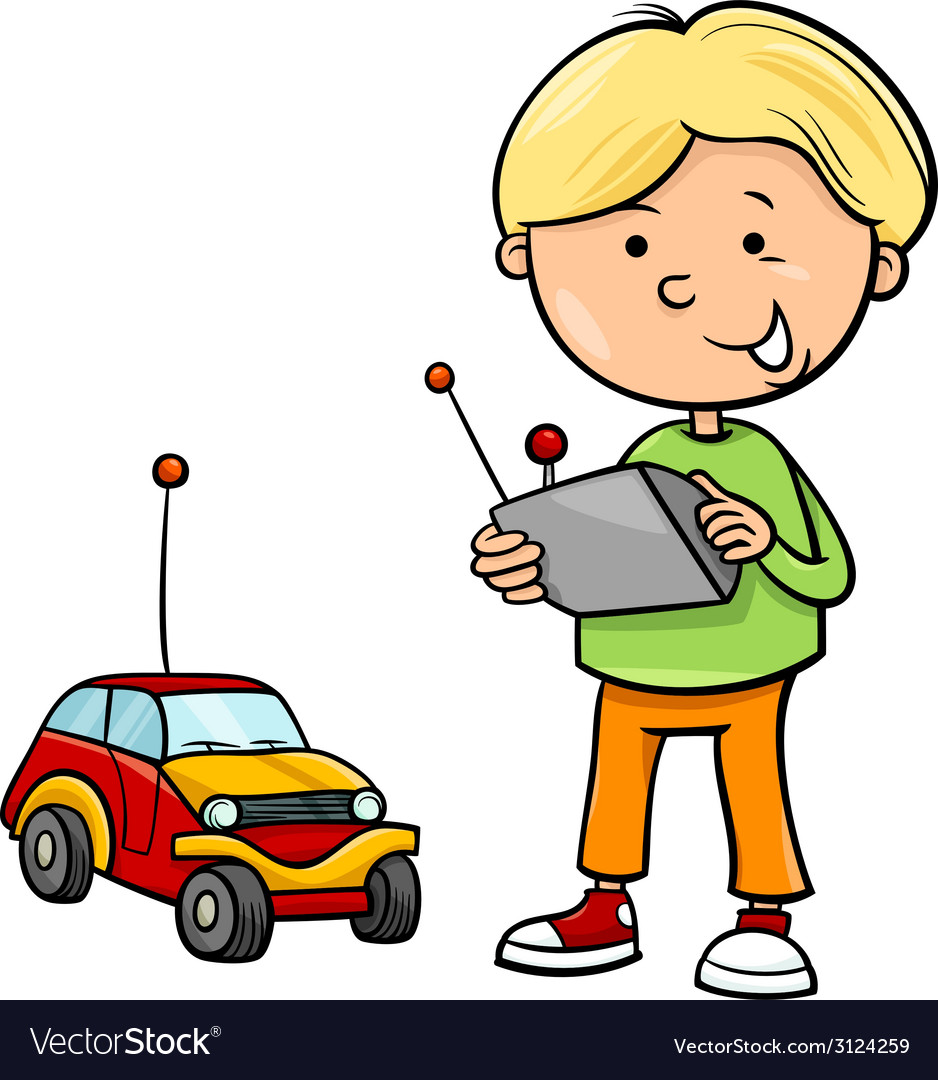 Boy and remote car cartoon vector | Price: 1 Credit (USD $1)