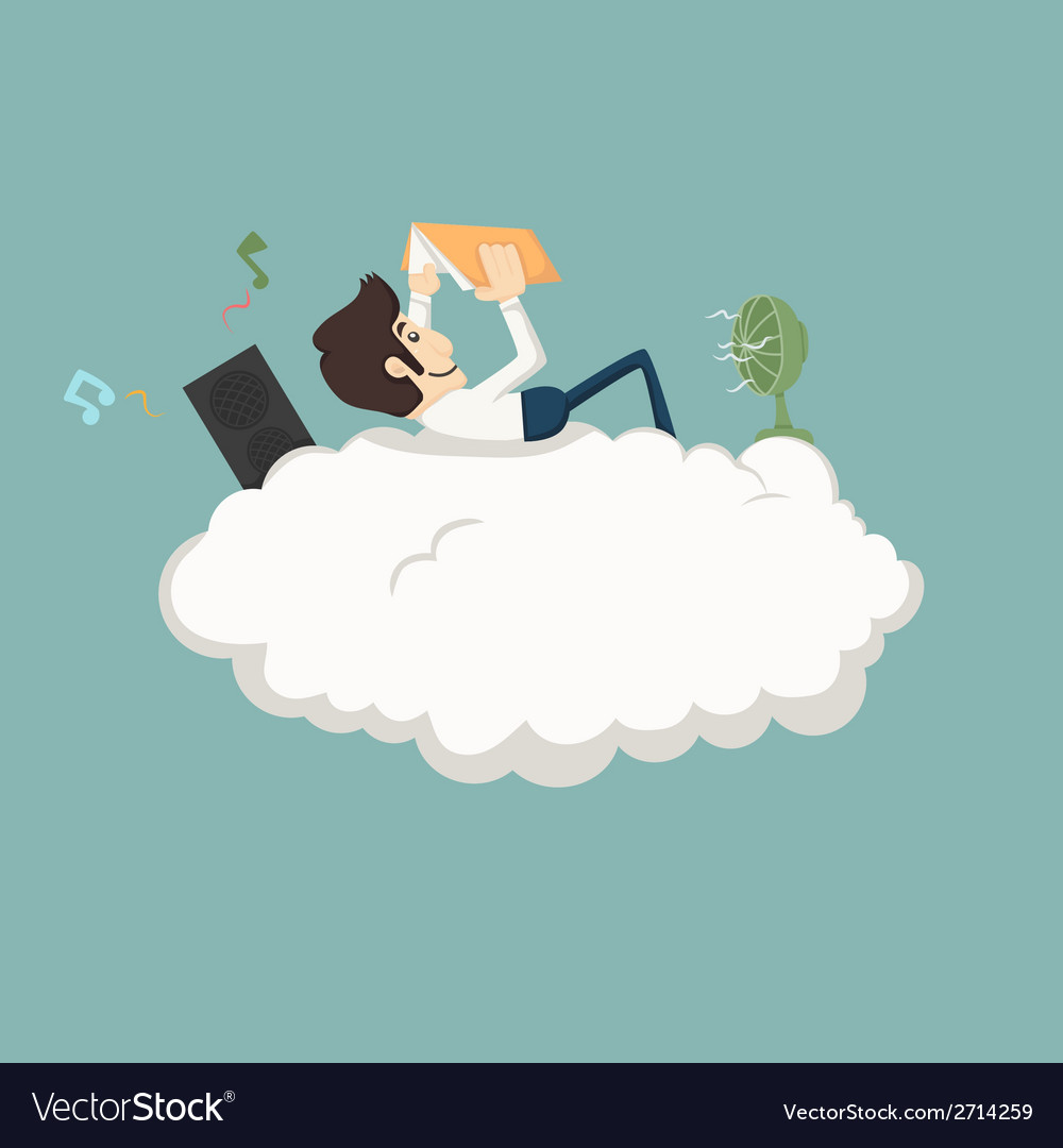Businessman resting on a cloud vector   Price: 1 Credit (USD $1)