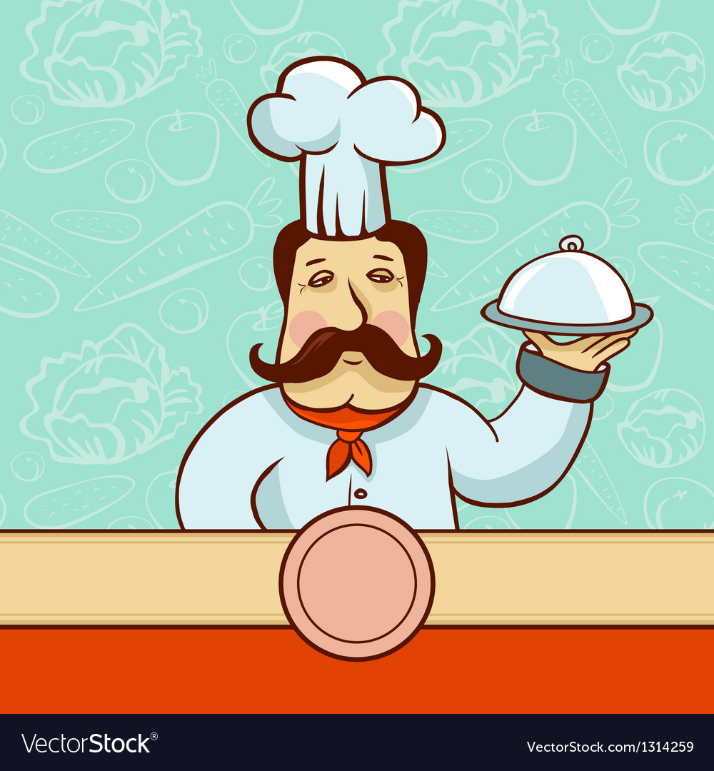 Cartoon character - chef cook with plate vector | Price: 1 Credit (USD $1)