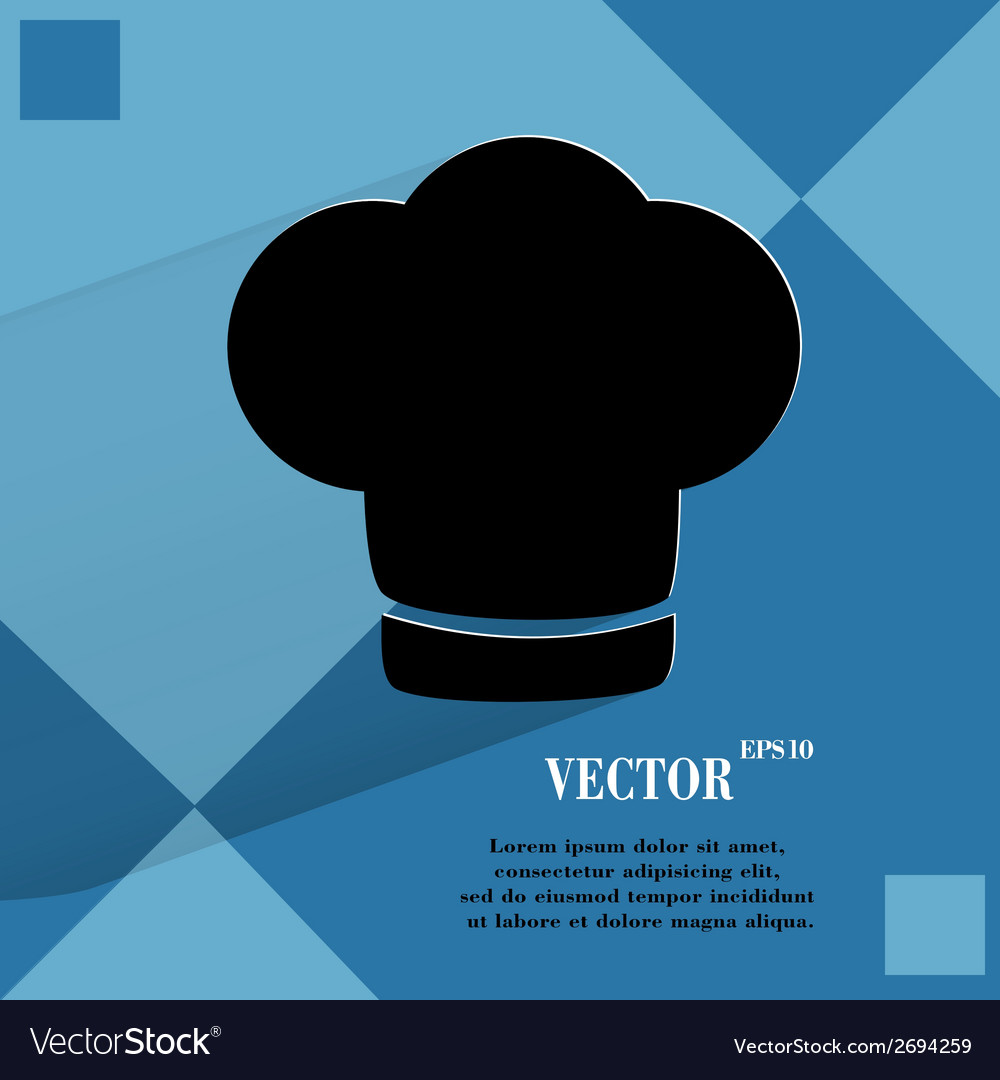 Chef cap cooking flat modern web button on a flat vector | Price: 1 Credit (USD $1)