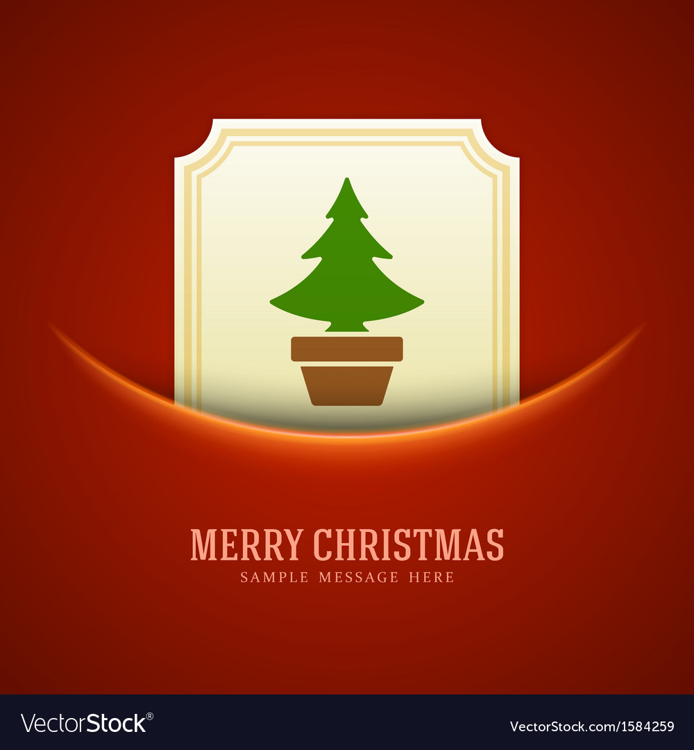 Christmas green tree card background vector | Price: 1 Credit (USD $1)