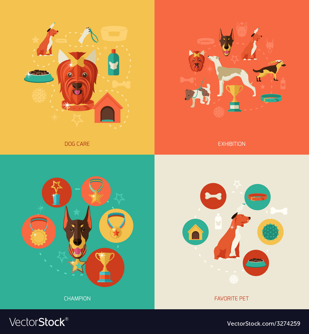 Dog icons flat vector | Price: 1 Credit (USD $1)