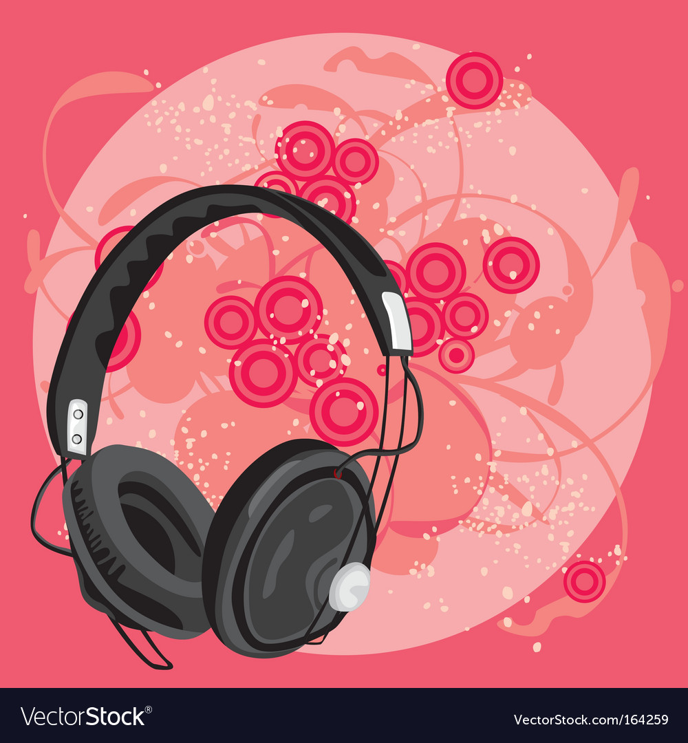 Earphone with grunge background vector | Price: 1 Credit (USD $1)