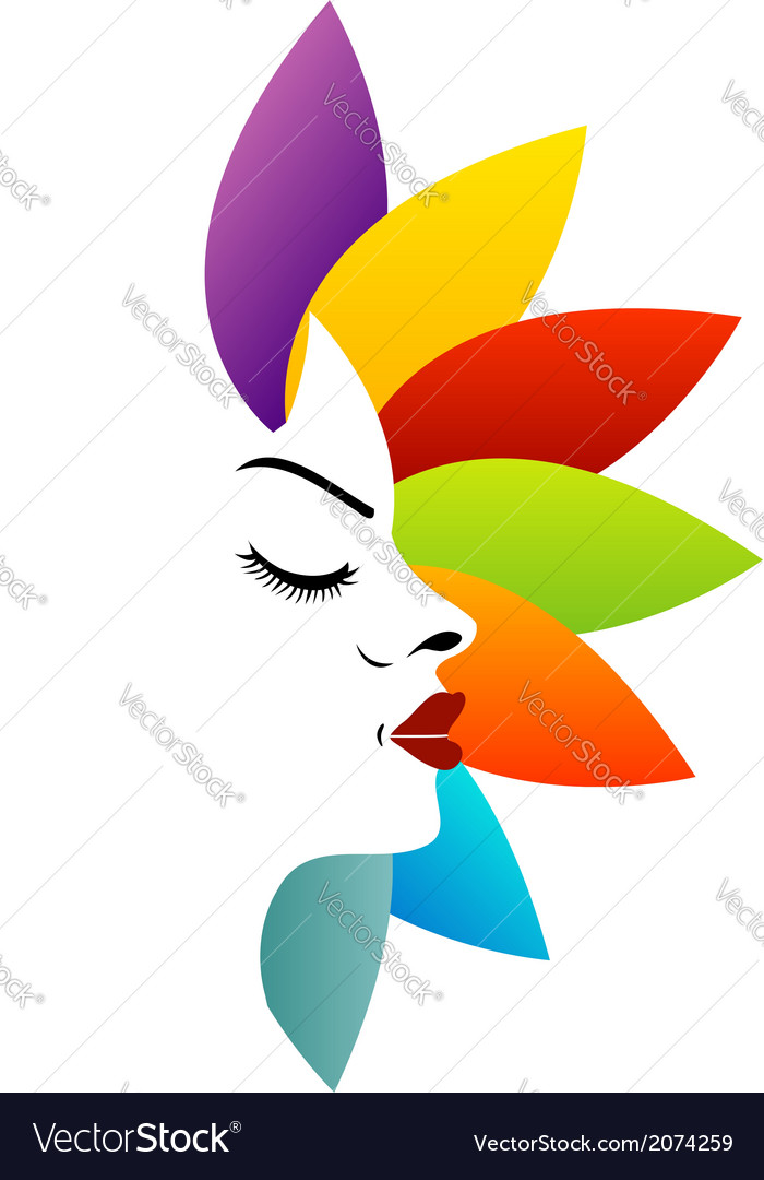 Face with colorful leaves vector | Price: 1 Credit (USD $1)