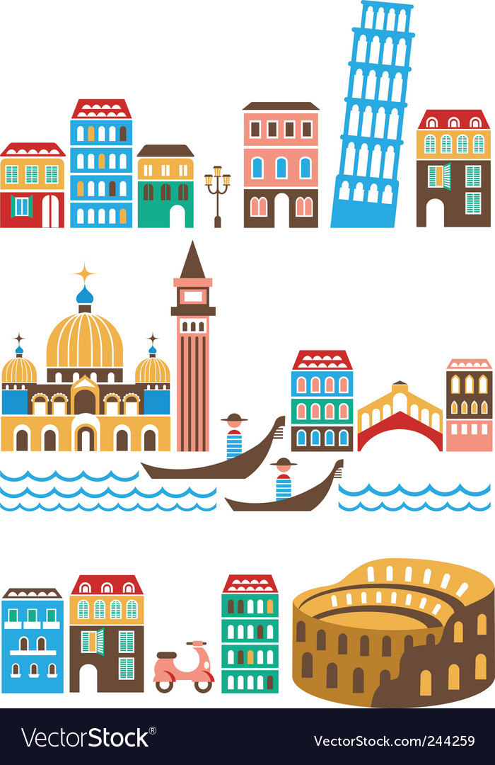 Italy landmarks vector | Price: 1 Credit (USD $1)