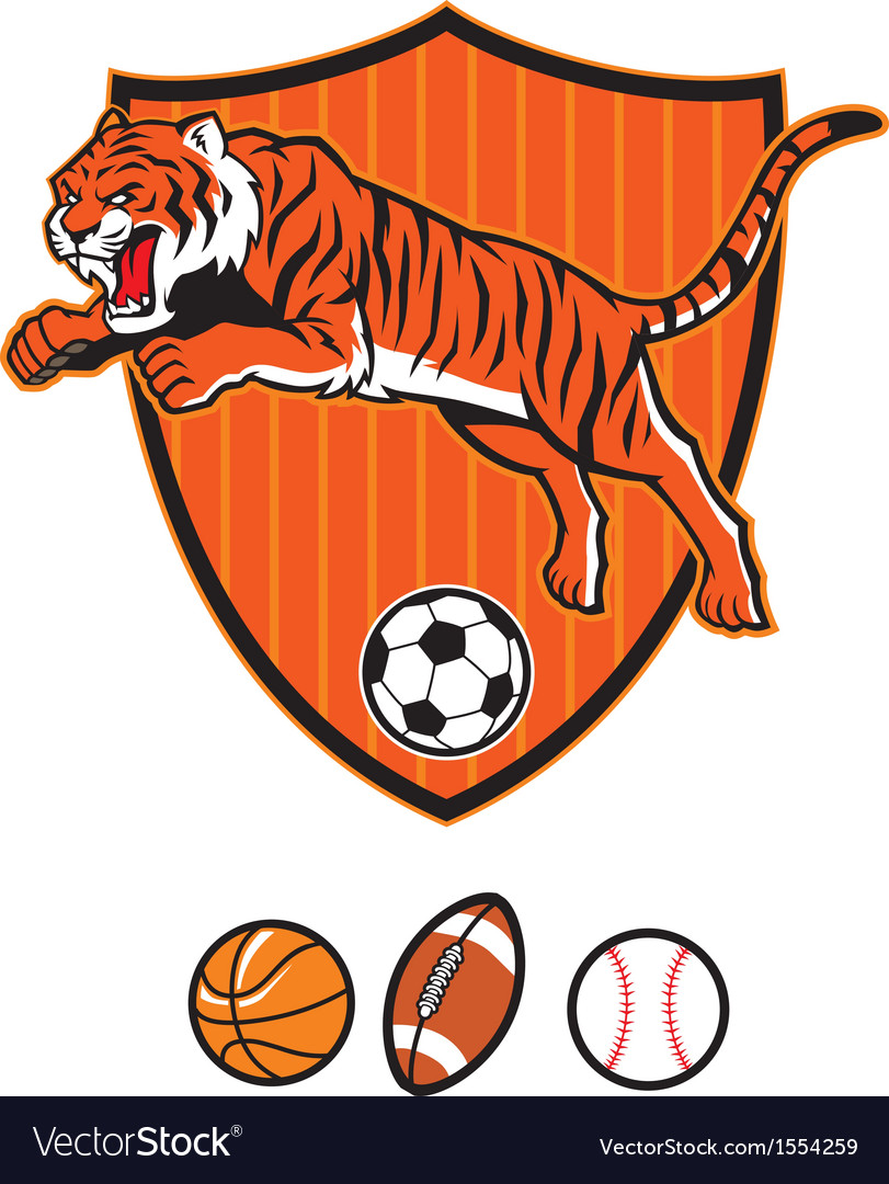Jumping tiger as sport mascot vector | Price: 3 Credit (USD $3)