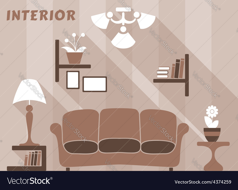 Living room modern interior design in flat style vector | Price: 1 Credit (USD $1)