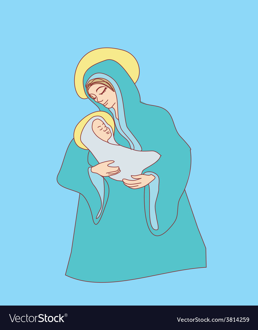 Madonna and child jesus vector | Price: 1 Credit (USD $1)