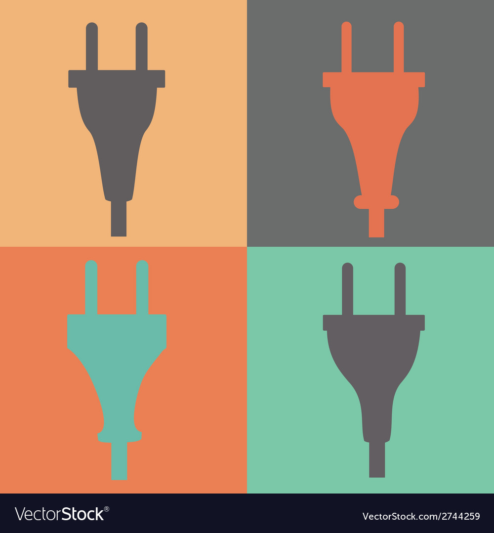 Set of electric plug sign icon power energy symbol vector | Price: 1 Credit (USD $1)