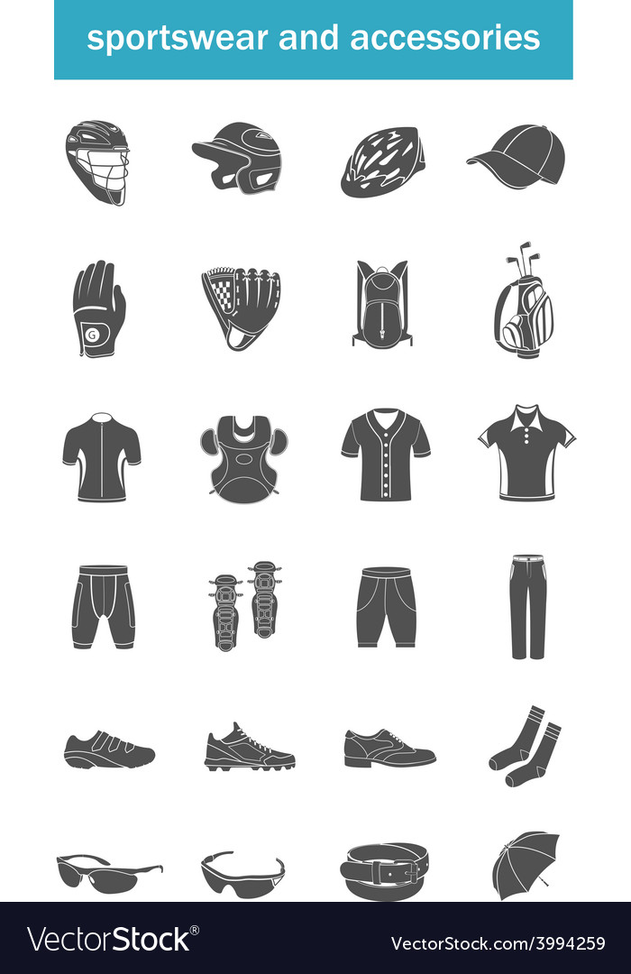 Set of icons sports accessories clothes vector | Price: 1 Credit (USD $1)