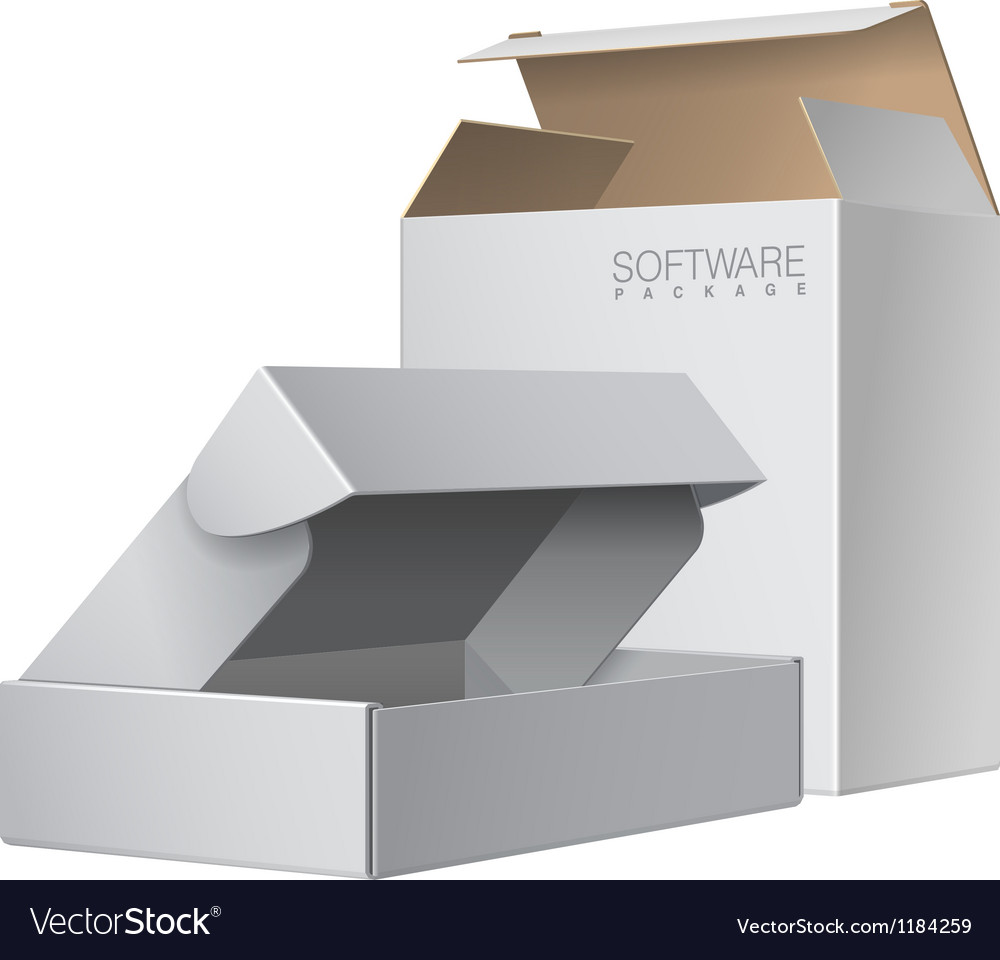 Two white package box opened for software vector | Price: 3 Credit (USD $3)