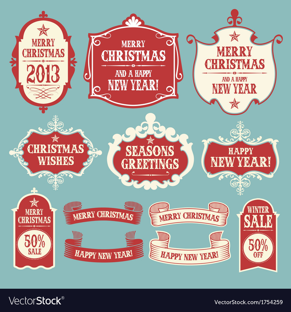 Vintage christmas frames banners and ribbons vector | Price: 1 Credit (USD $1)