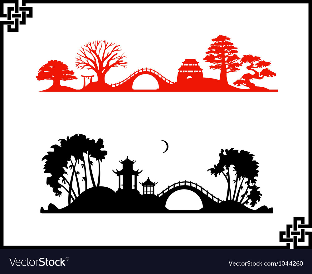 Abstract chines landscapes vector | Price: 1 Credit (USD $1)