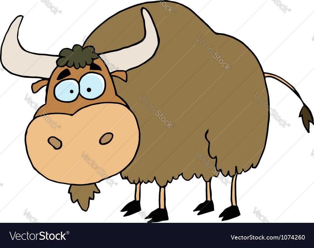 Cartoon brown yak vector | Price: 1 Credit (USD $1)