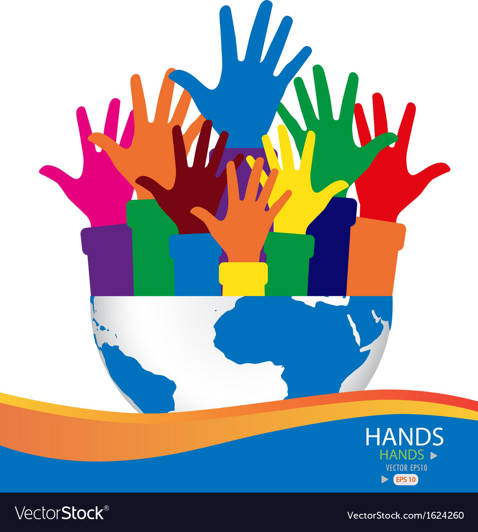 Colorful raised hands and globe vector | Price: 1 Credit (USD $1)