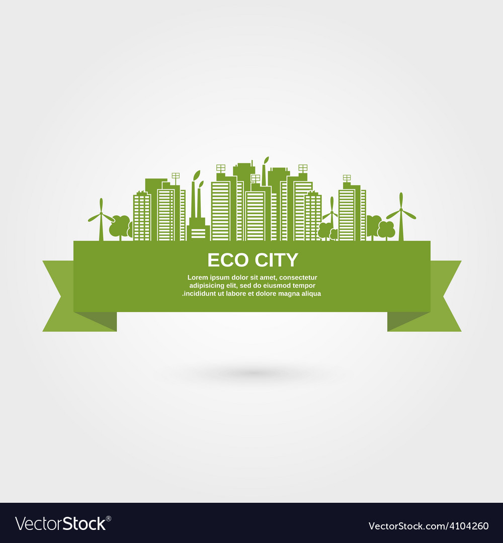 Eco town concept vector | Price: 1 Credit (USD $1)