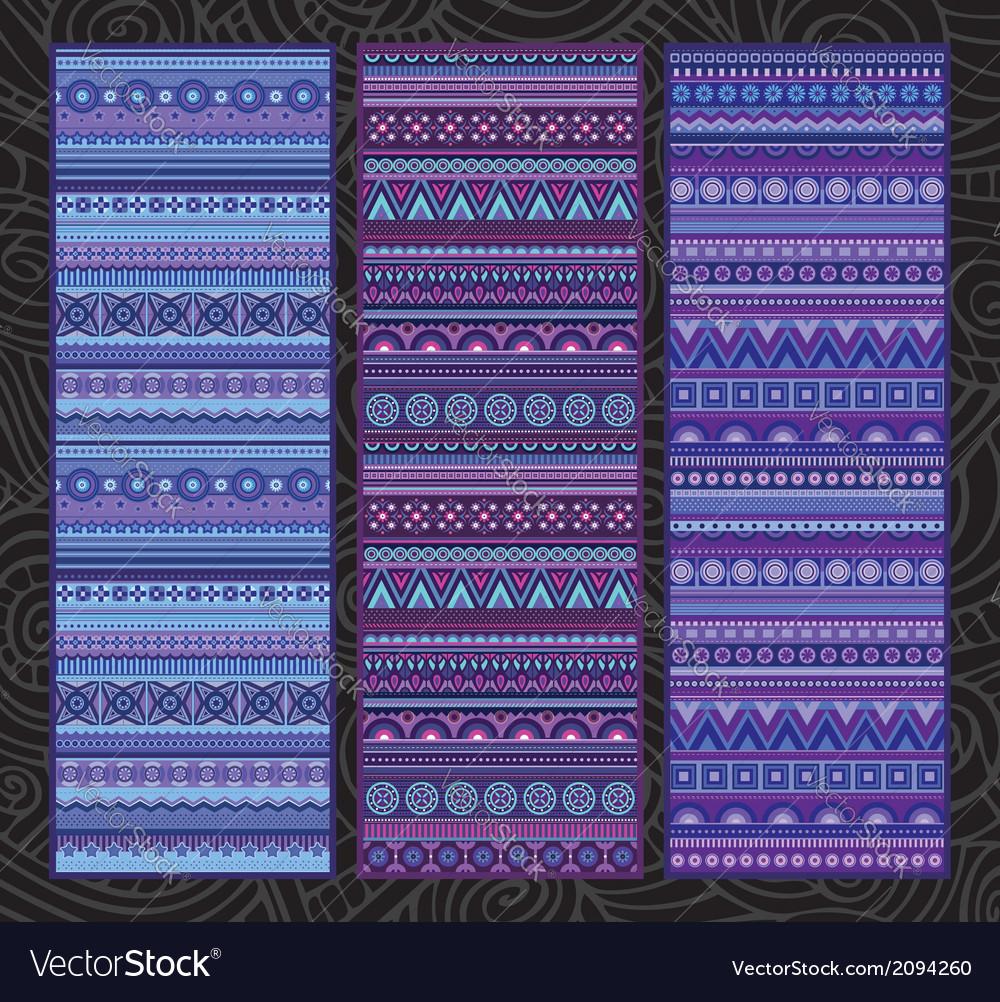 Ethnic various strip set motifs in violet colors vector | Price: 1 Credit (USD $1)