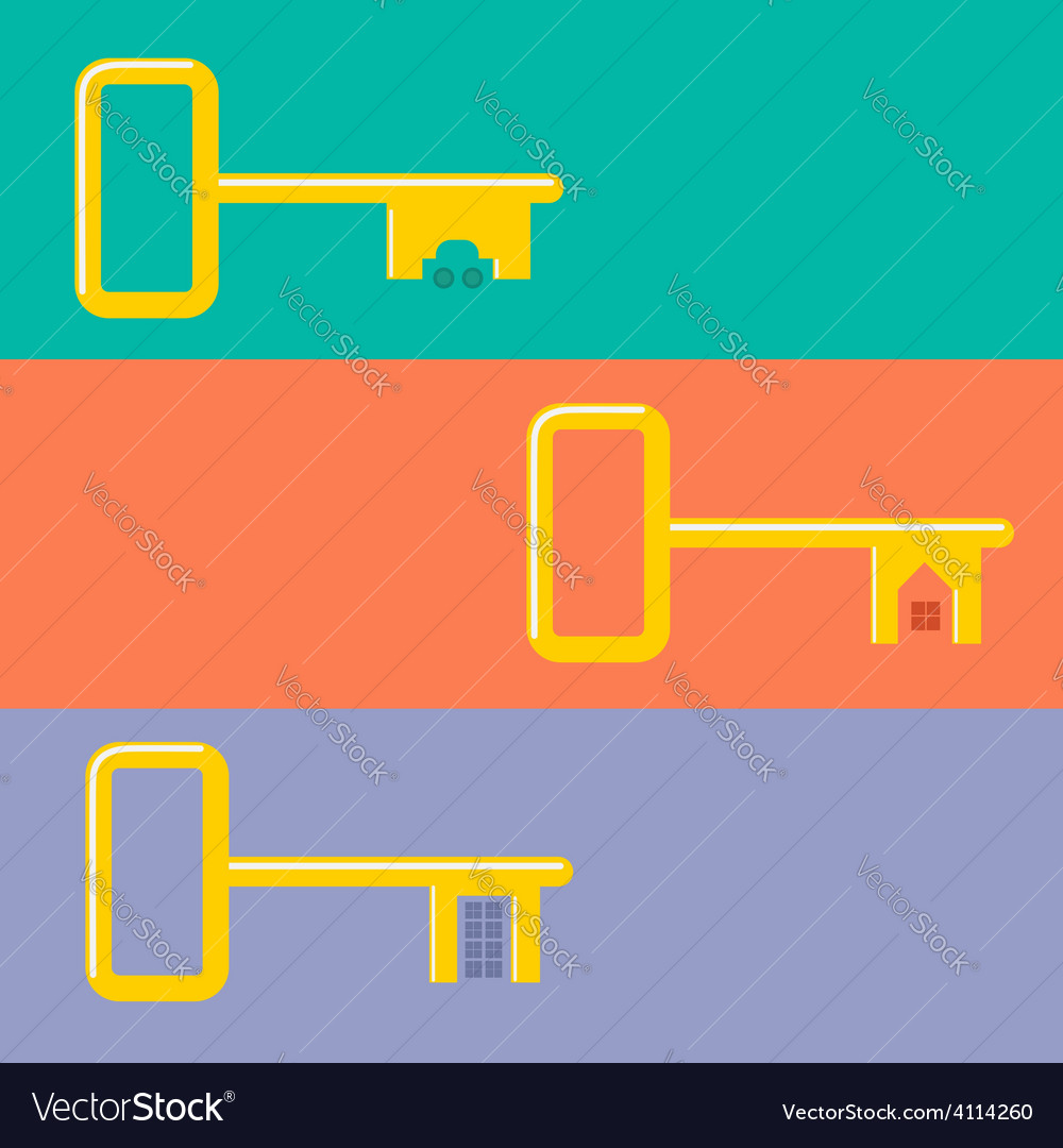Golden keys from car house apartment web banner vector | Price: 1 Credit (USD $1)