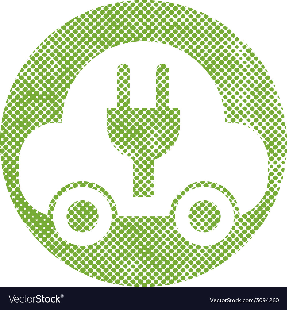 Green ecological electric car sign with pixel vector | Price: 1 Credit (USD $1)