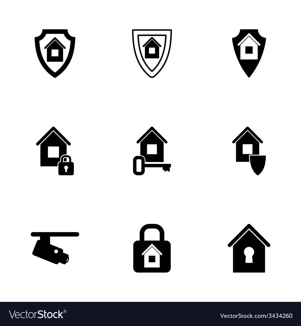 Home security icon set vector | Price: 1 Credit (USD $1)