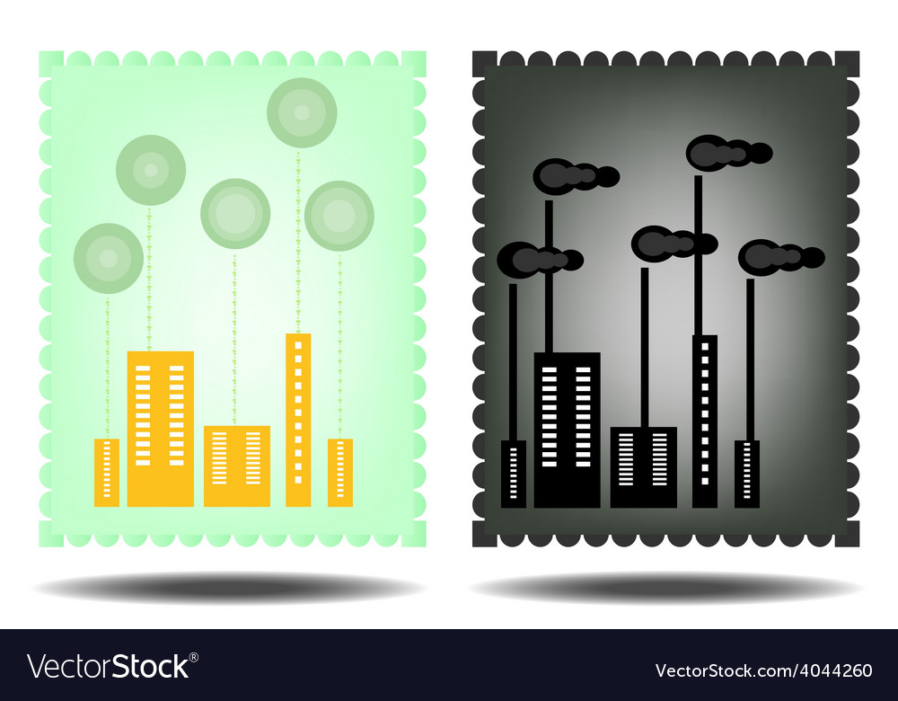 Picture of green and black city vector | Price: 1 Credit (USD $1)