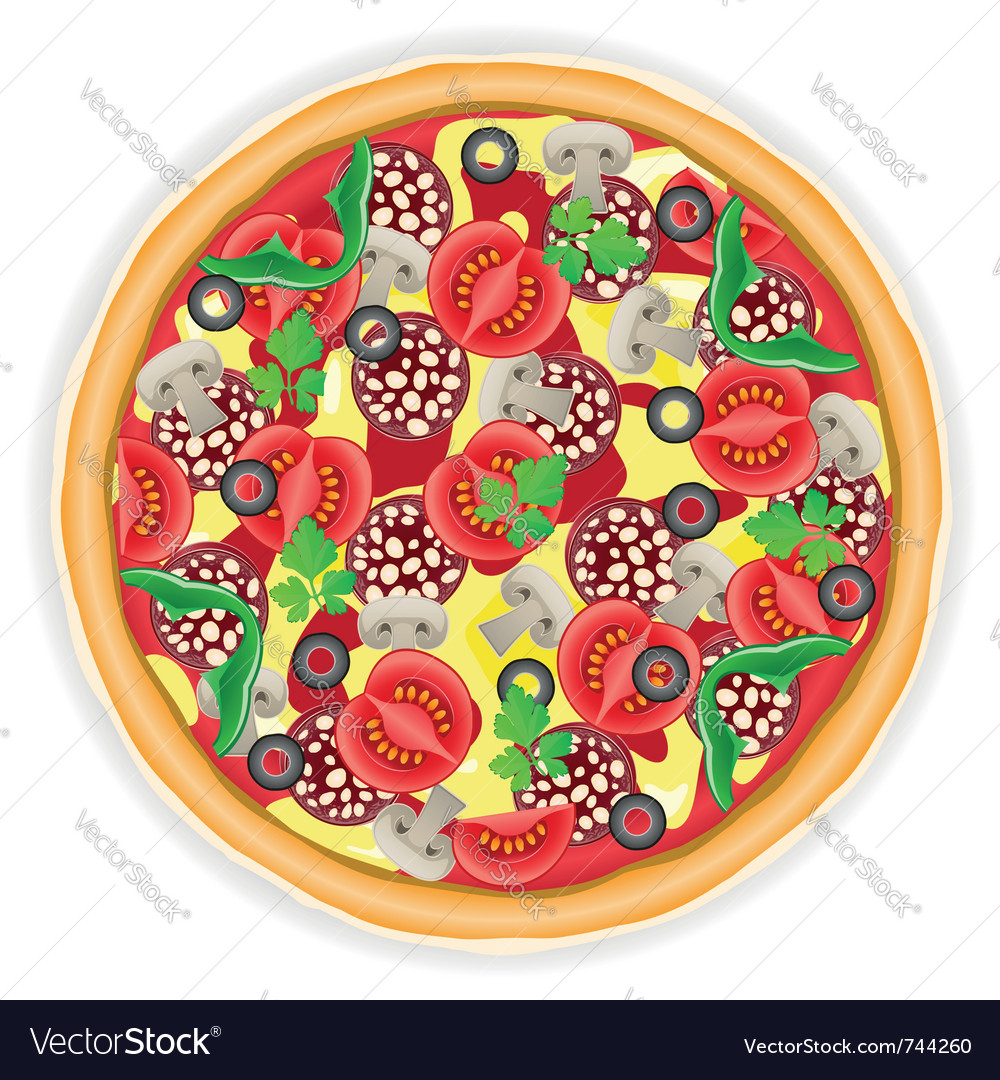 Pizza isolated on white background vector | Price: 1 Credit (USD $1)