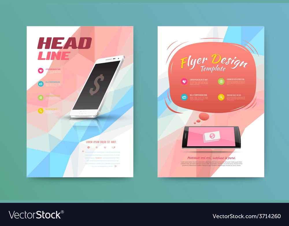 Technology brochure flyer design template vector | Price: 1 Credit (USD $1)