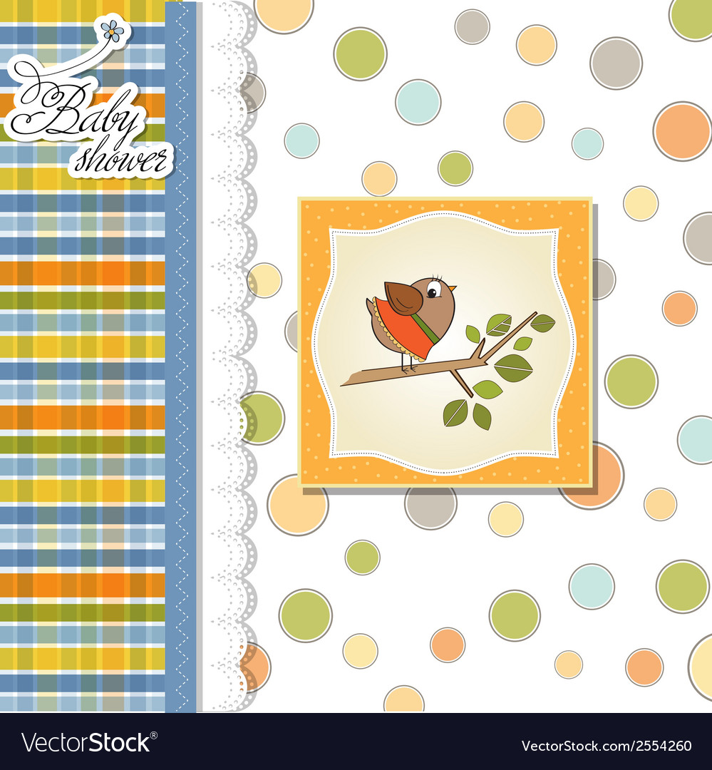 Welcome baby card with funny little bird vector | Price: 1 Credit (USD $1)