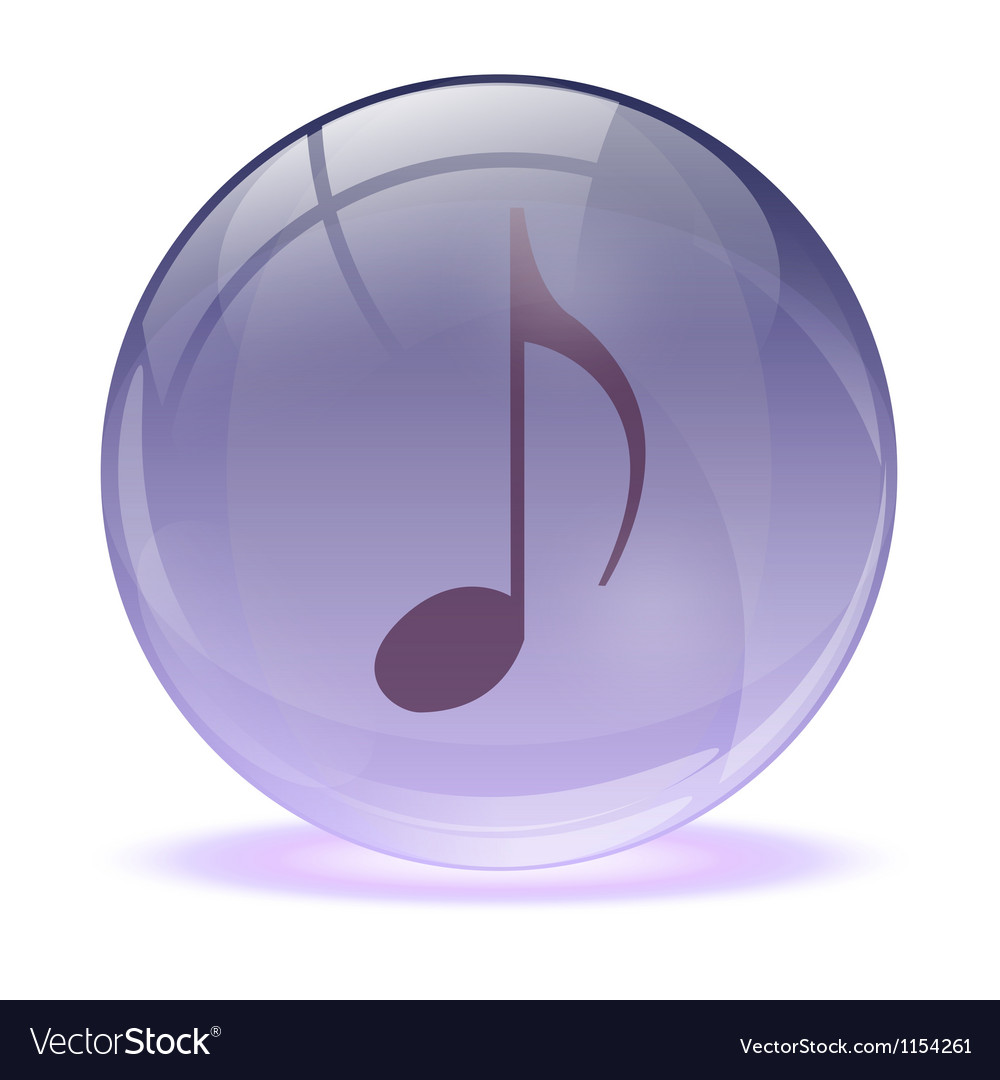 3d glass sphere and music icon vector | Price: 1 Credit (USD $1)
