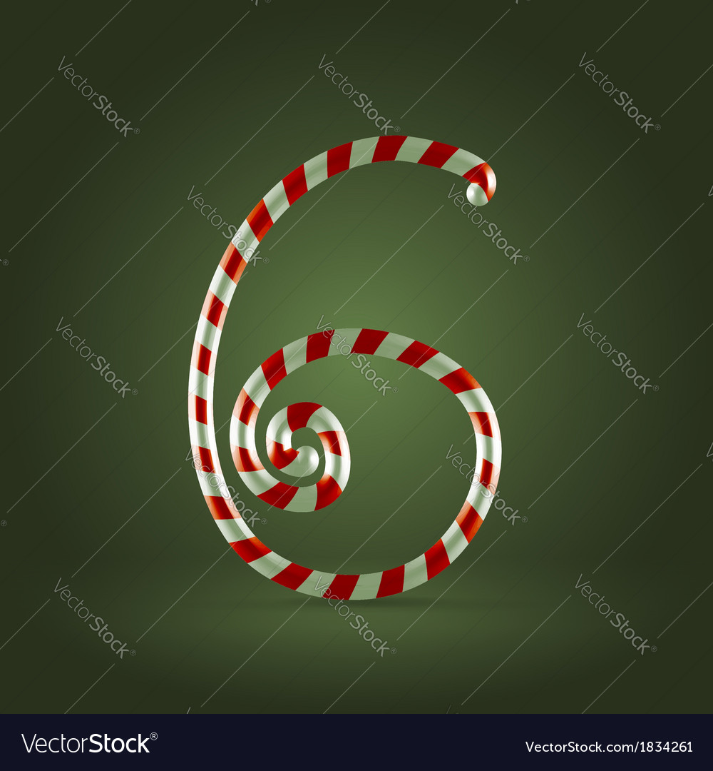Candy cane abc 6 vector | Price:  Credit (USD $)