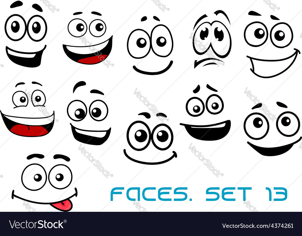 Cartoon faces with various emotions vector | Price: 1 Credit (USD $1)