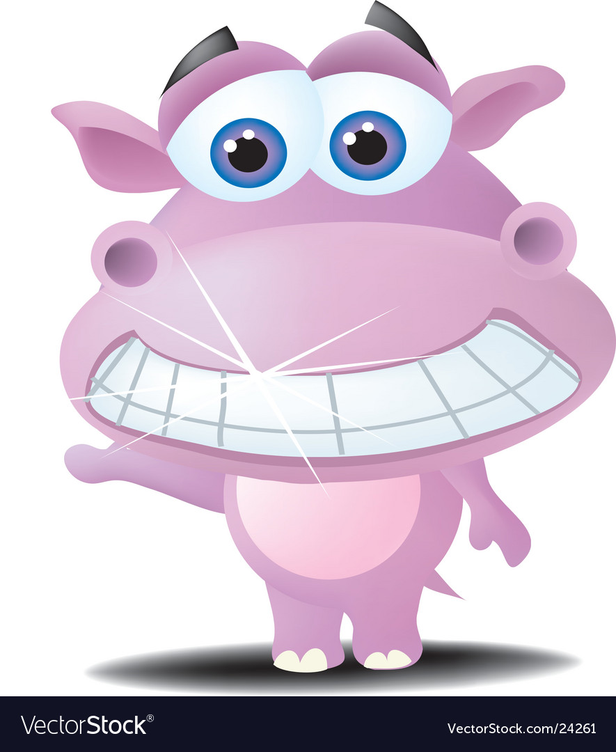 Cartoon hippo vector | Price:  Credit (USD $)
