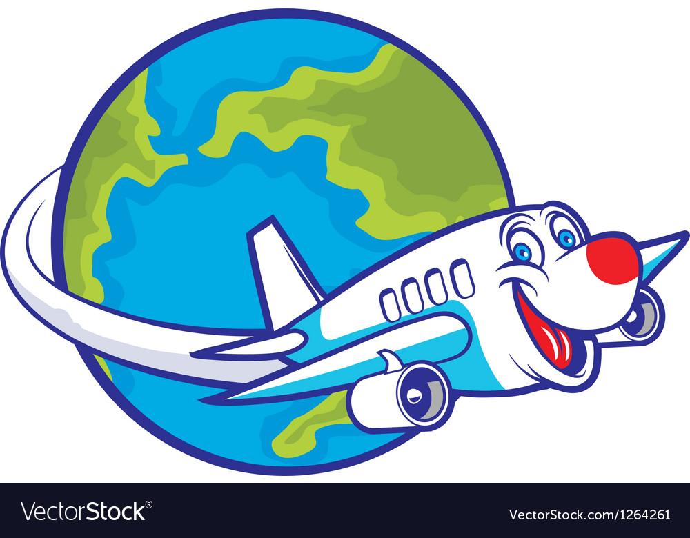 Cartoon plane flying around the globe vector   Price: 1 Credit (USD $1)