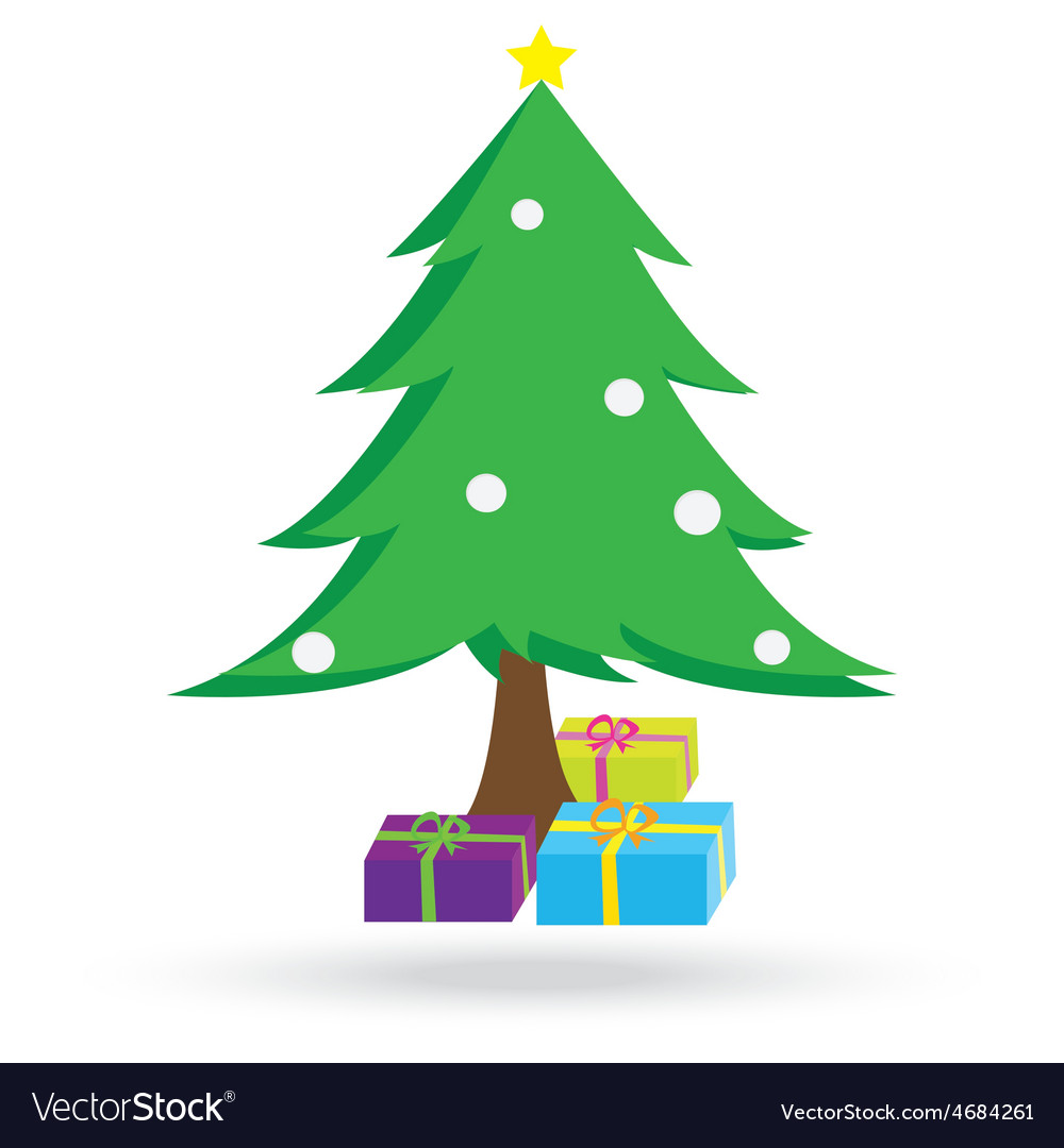 Christmas tree and gift boxes vector | Price: 1 Credit (USD $1)