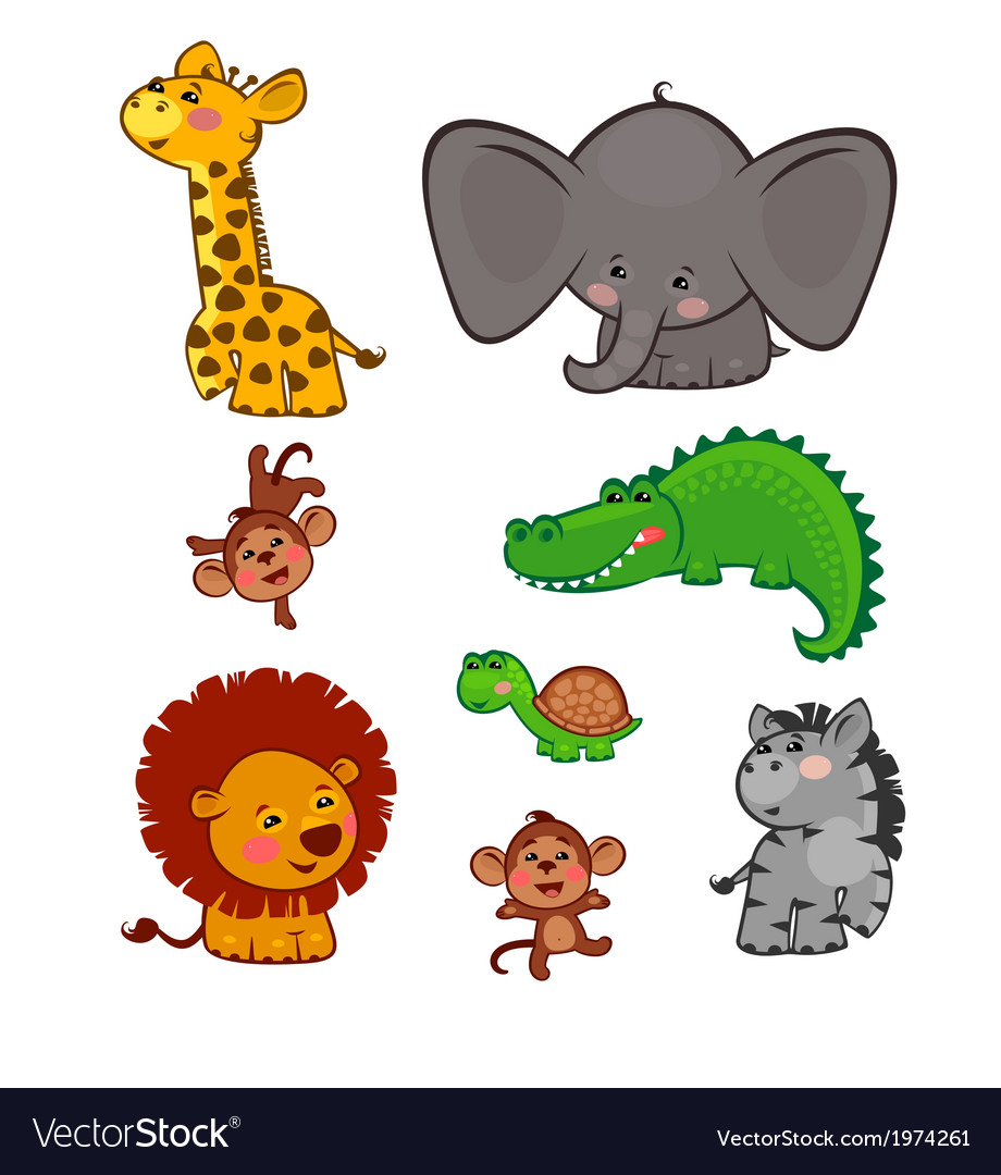 The cute african animals vector | Price: 1 Credit (USD $1)