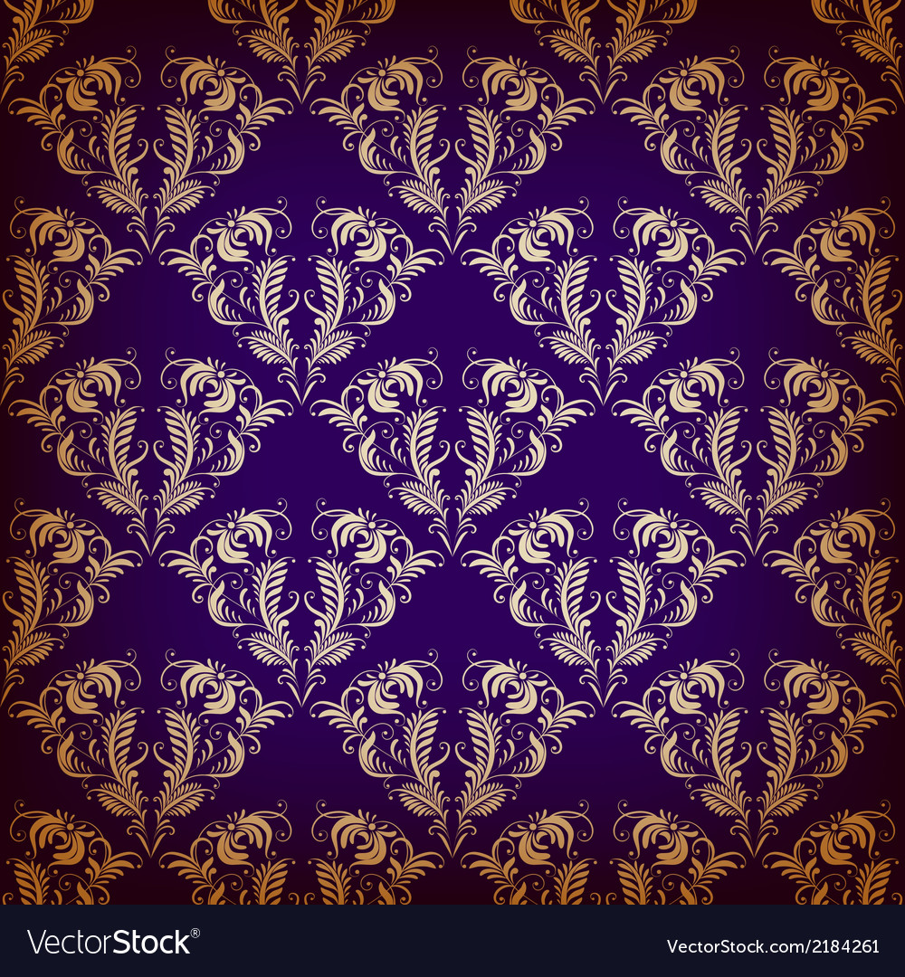 Damask seamless on violet background vector | Price: 1 Credit (USD $1)