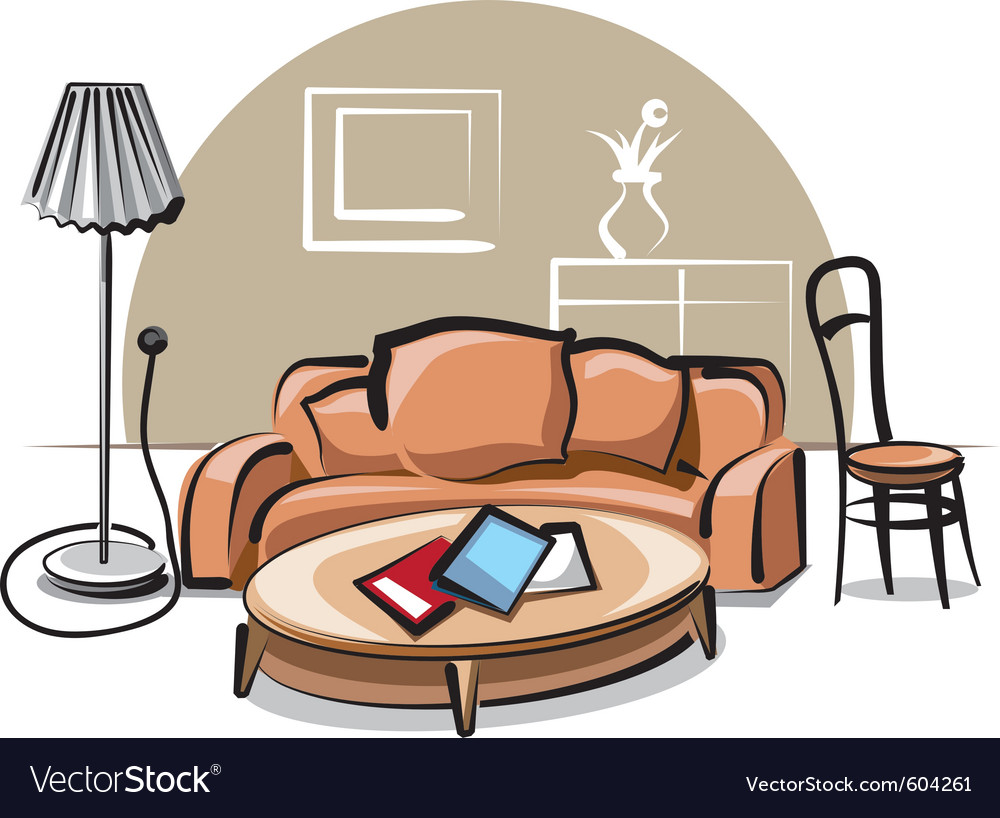 Interior with sofa vector | Price: 3 Credit (USD $3)