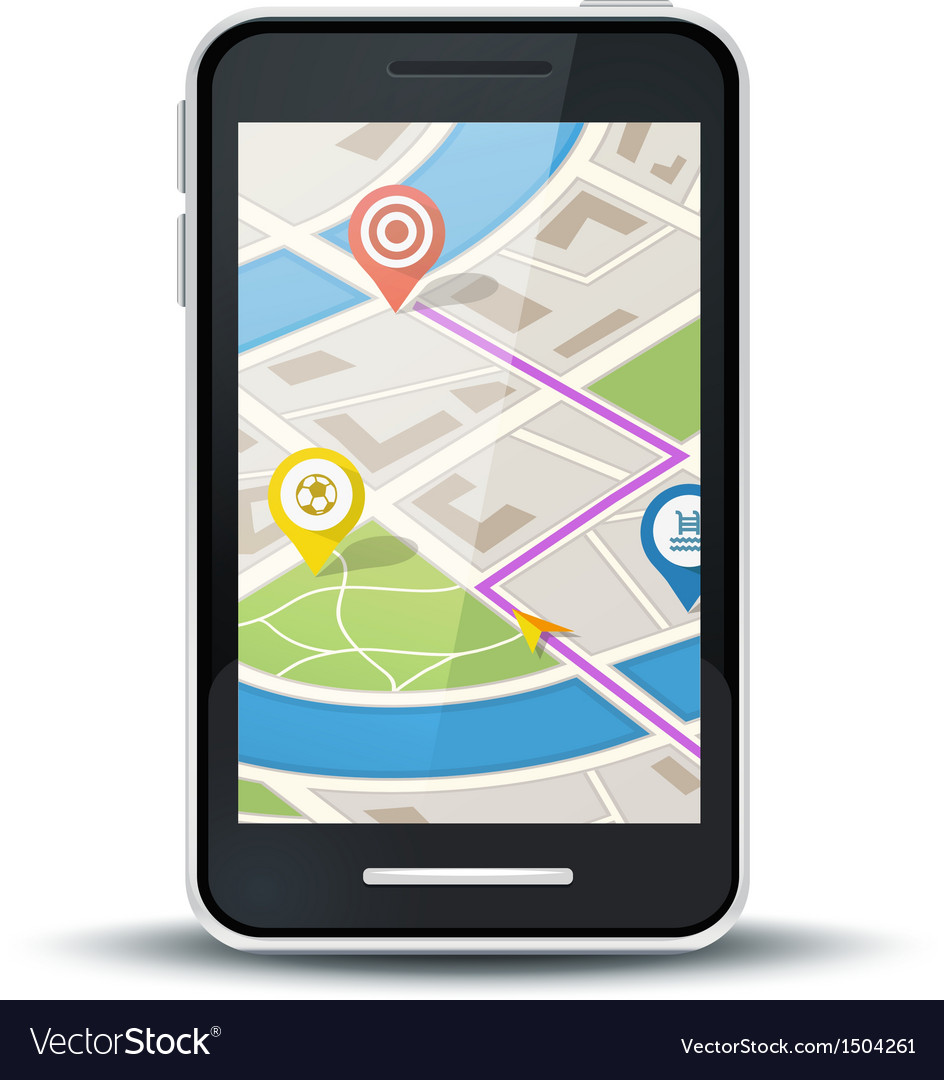 Mobile phone with gps map application vector | Price: 3 Credit (USD $3)