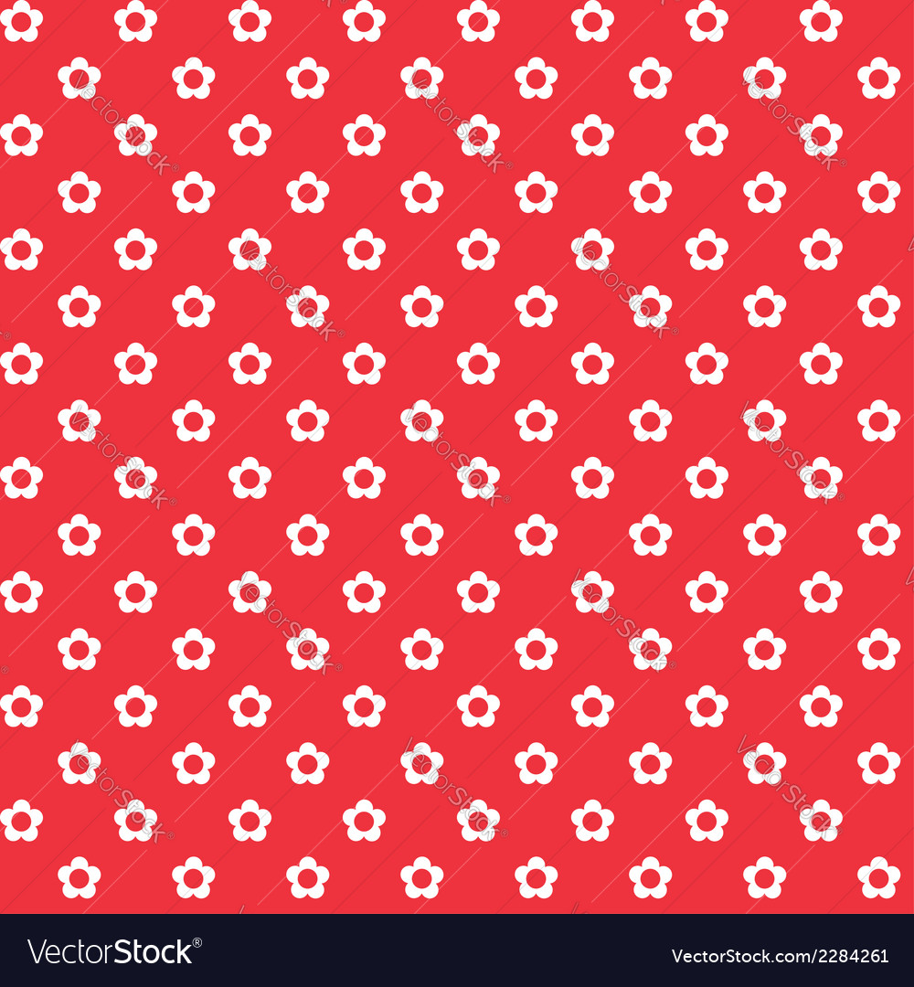 Red background white flowers seamless pattern vector | Price: 1 Credit (USD $1)