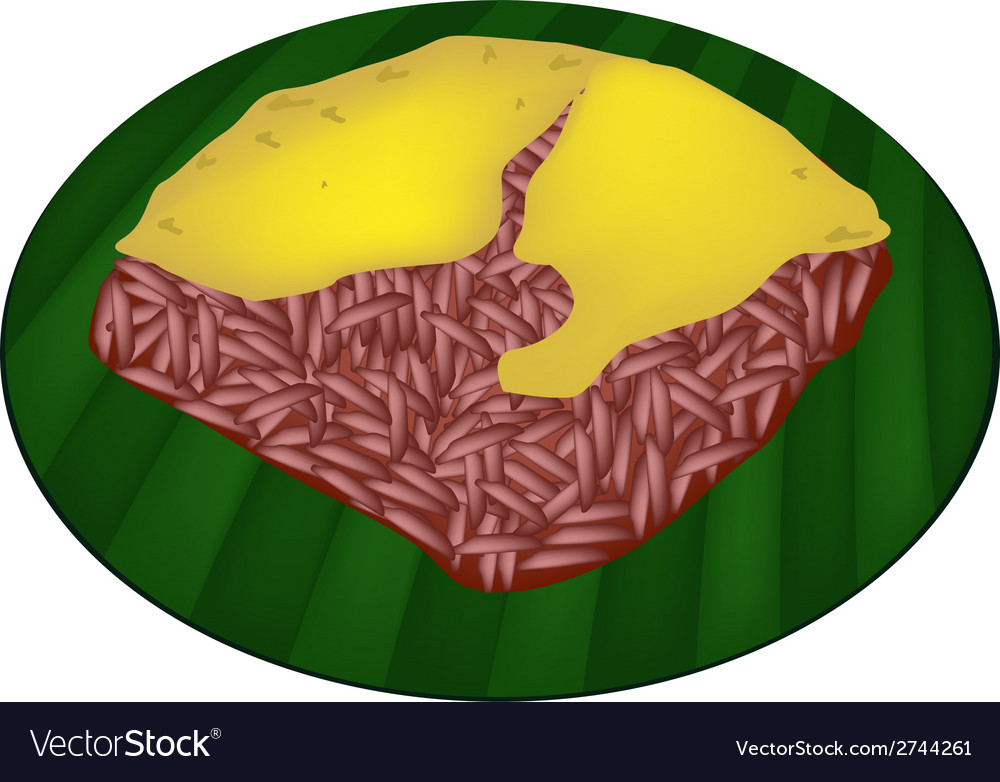 Red sticky rice with steamed custard vector | Price: 1 Credit (USD $1)