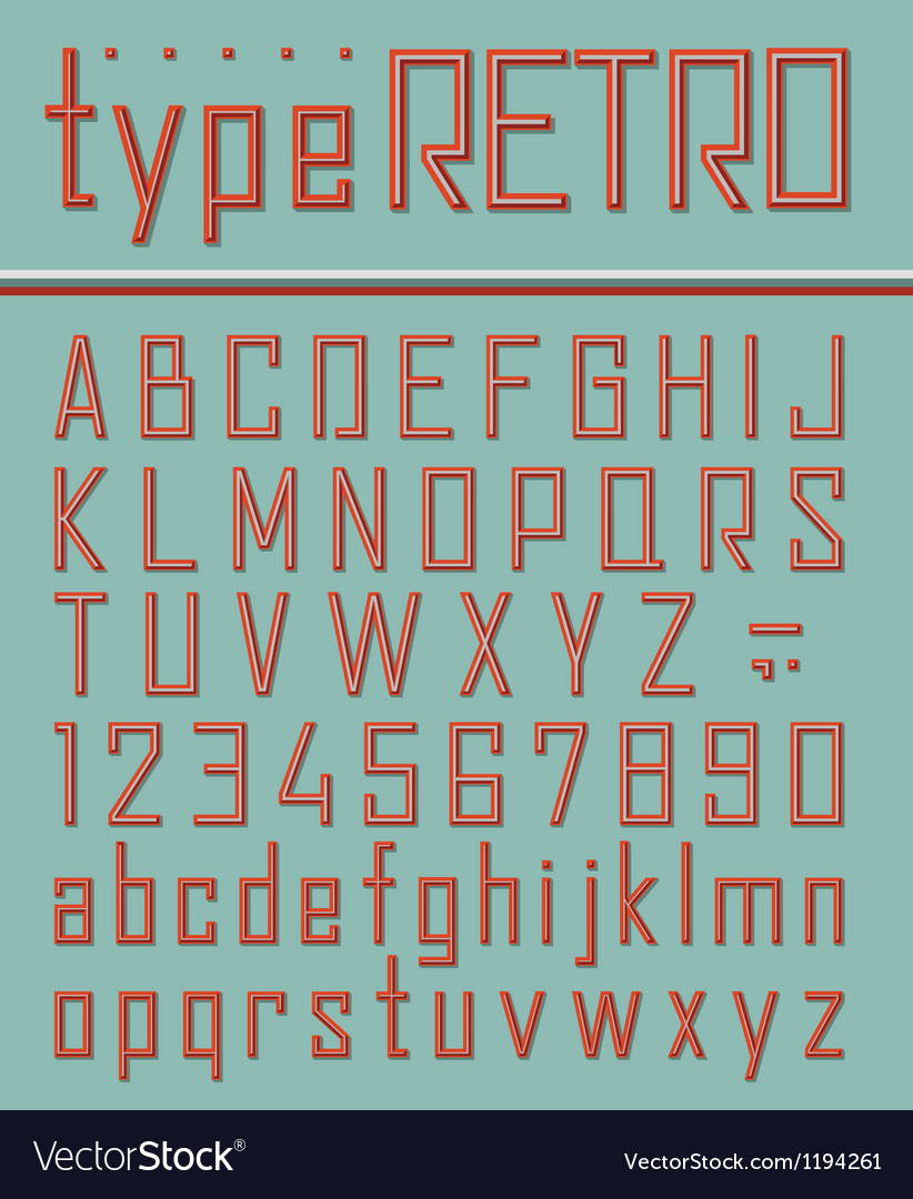 Retro style font vector | Price: 1 Credit (USD $1)
