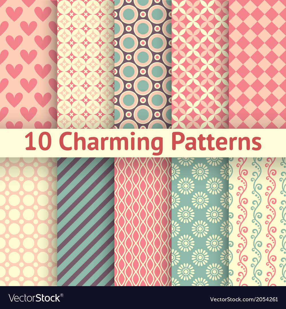 Romantic different seamless patterns tiling vector | Price: 1 Credit (USD $1)